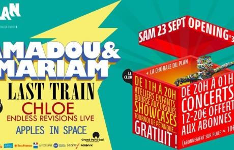 [JEU CONCOURS] Amadou & Mariam, Chloé & Last Train pour l'Opening#3 du Plan!